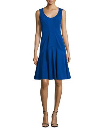 Karen Sleeveless Flounce-Skirt Dress, Horizon Blue