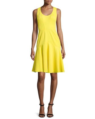 Karen Sleeveless Flounce-Skirt Dress, Daffodil