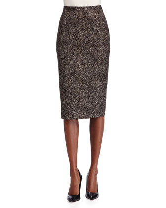 Seamed Wool Pencil Skirt, Chocolate