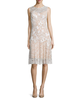 Floral-Applique Lace Cocktail Dress, Lunar