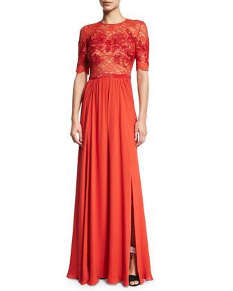 Elbow-Sleeve Embellished Gown, Pumpkin