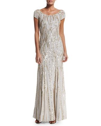 Cap-Sleeve Embellished Gown, Lunar