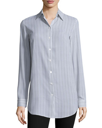 Striped Button-Front Shirt, Chocolate