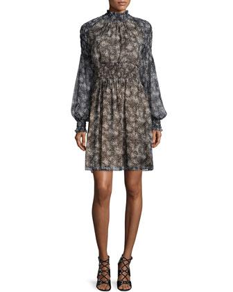 Long-Sleeve Smocked Dress, Slate
