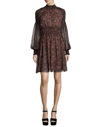 Long-Sleeve Floral-Print Dress, Bordeaux