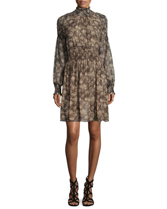Long-Sleeve Smocked Dress, Taupe