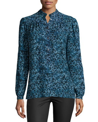 Long-Sleeve Floral-Print Blouse, Chambray/Multi Colors