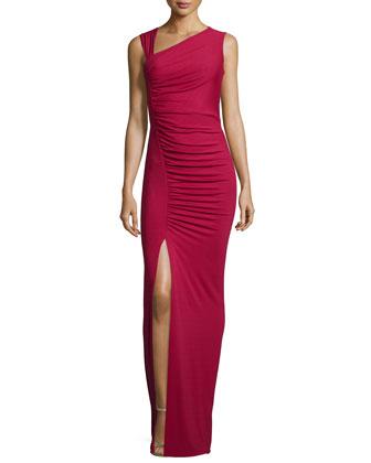 Sleeveless Asymmetric Tank Gown, Rouge