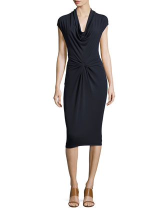 Cap-Sleeve Cowl-Neck Sheath Dress, Navy