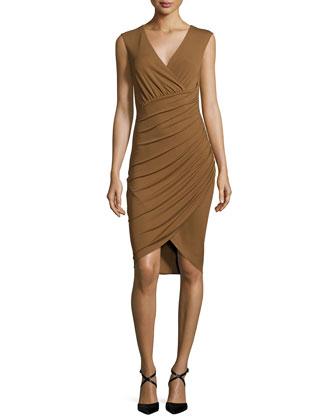 Sleeveless Tulip Dress, Saddle