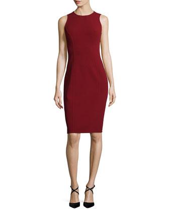 Sleeveless Jewel-Neck Sheath Dress, Cinnabar