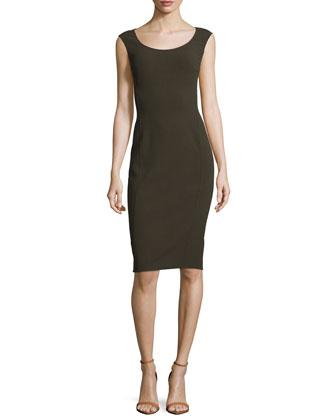 Sleeveless Round-Neck Sheath Dress, Teak