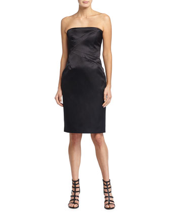 Strapless Satin Dress, Black
