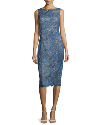 Bateau-Neck Lace Sheath Dress, Chambray/Multi