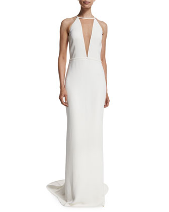 Halter Gown with Train, White