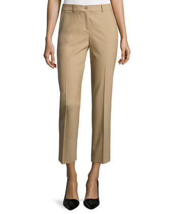 Samantha Slim-Leg Cropped Pants, Fawn