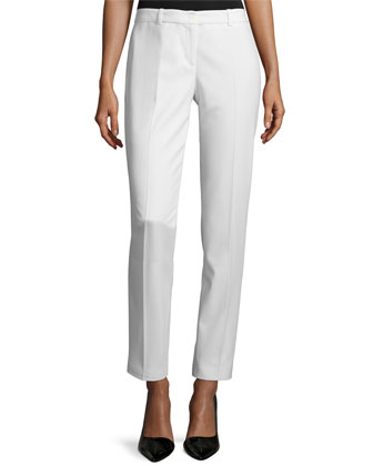Samantha Slim-Leg Cropped Pants, White