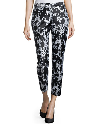 Samantha Slim-Leg Pants, Black/White
