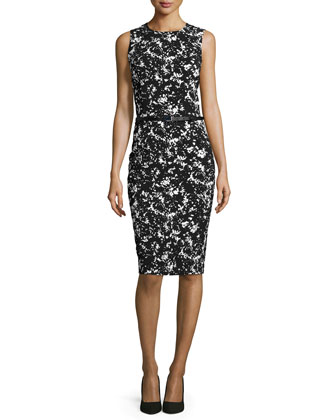 Sleeveless Belted Sheath Dress, Black/White