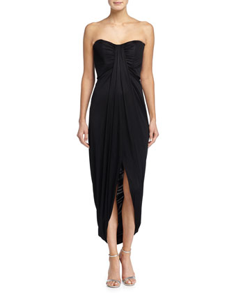 Strapless Draped Jersey Gown, Black