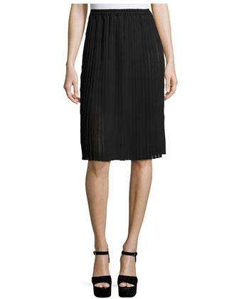 Pleated Pencil Skirt, Black
