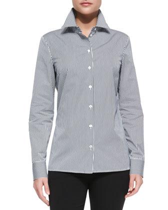Long-Sleeve Striped Poplin Shirt, Midnight/Optic White