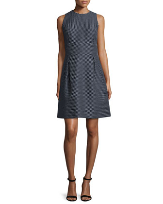 Sleeveless Dot-Print Bell Dress, Midnight/White