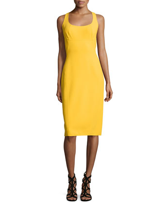 Sleeveless Scoop-Neck Sheath Dress, Sun