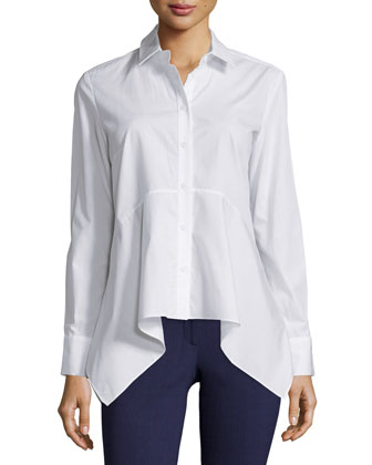 Dyna Cotton Long-Sleeve Blouse, White