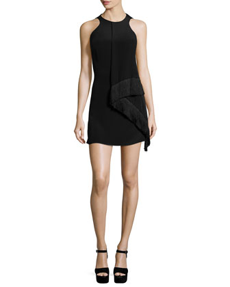 Sleeveless Silk Draped-Front Sheath Dress, Black