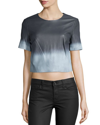 Alex Short-Sleeve Ombre Leather Blouse, White/Summer Storm