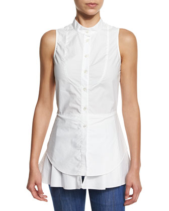 Sleeveless Cotton Button-Front Shirt, Soft White