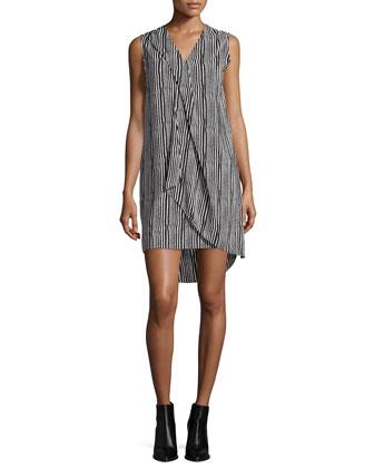 Sleeveless Striped Ruffle-Trim Shift Dress, Ivory/Midnight