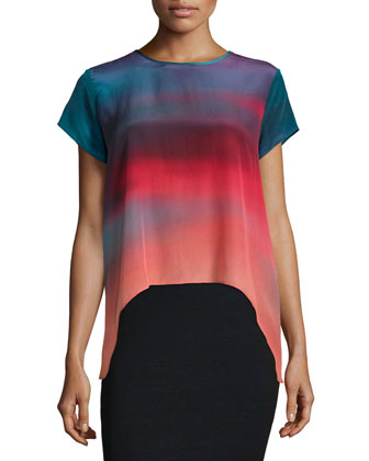 Juni Short-Sleeve High-Low Blouse, Multi Colors