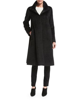 Long-Sleeve A-Line Coat, Sleeveless Silk Long Shell & Slim Ponte Pants