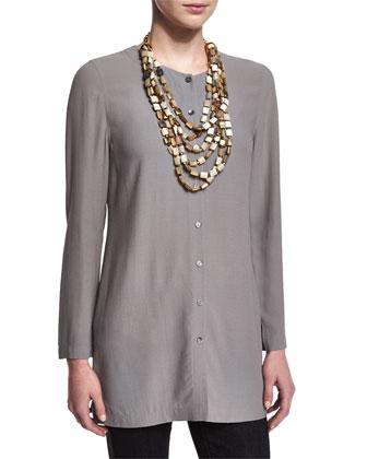 Long Silk Button-Front Blouse, Petite