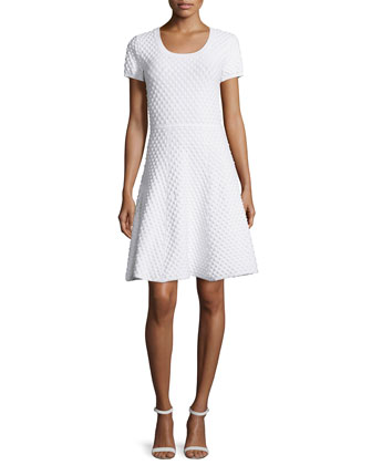Ivanna Short-Sleeve Fit-&-Flare Dress, White