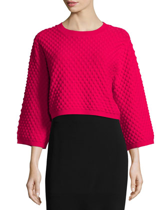 Ivette 3/4-Sleeve Cropped Sweater, Raspberry