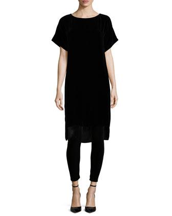 Short-Sleeve Washable Velvet Step Dress, Petite