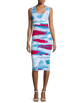 Ida Abstract-Print Sheath Dress, Raspberry/Cyprus