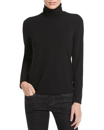 Long-Sleeve Scrunch-Neck Top, Black, Women's