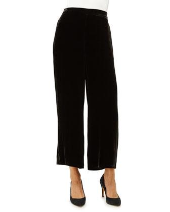 Velvet Wide-Leg Pants, Black, Petite