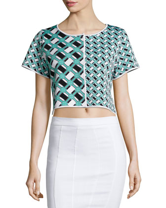 Ines Geometric-Print Crop Top, Lagoon/Black/White