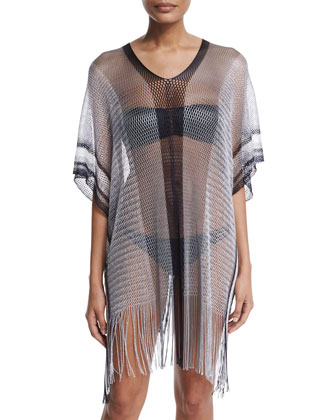 Madagascar Netted-Knit Poncho Coverup