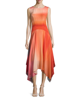 May Ombre Handkerchief-Hem Dress, Multi Colors