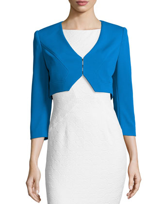 Marlene 3/4-Sleeve Cropped Jacket, Blue