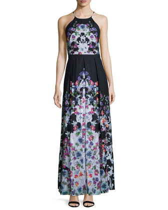 Halter-Neck Floral-Print Maxi Dress, Black/White