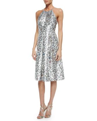 Halter Floral Jacquard Fit & Flare Dress