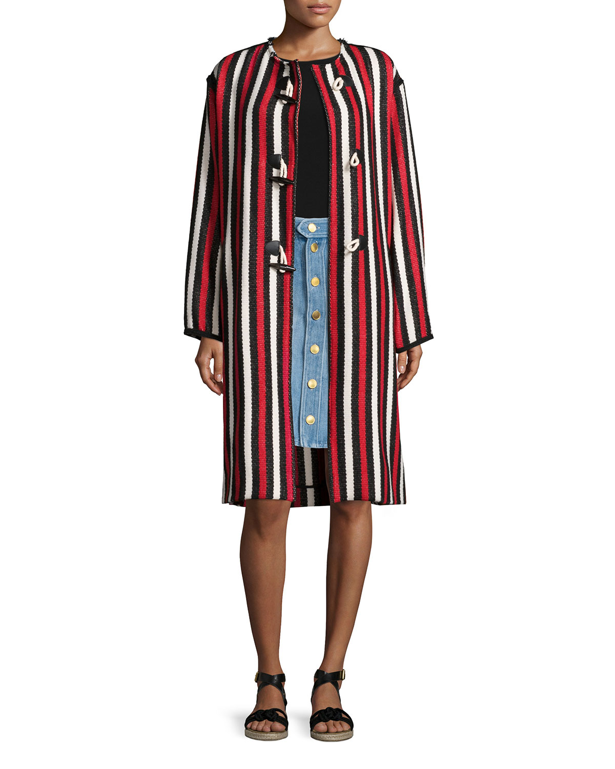 Belia Striped Long Blanket Coat, Red, Size: 44 - Etoile Isabel Marant