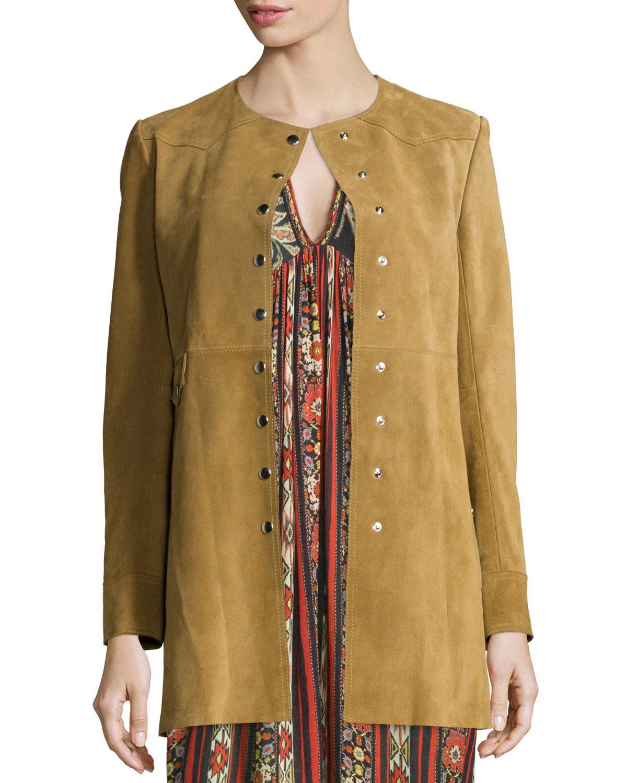 Adler Long Suede Coat, Camel, Size: 34 - Etoile Isabel Marant